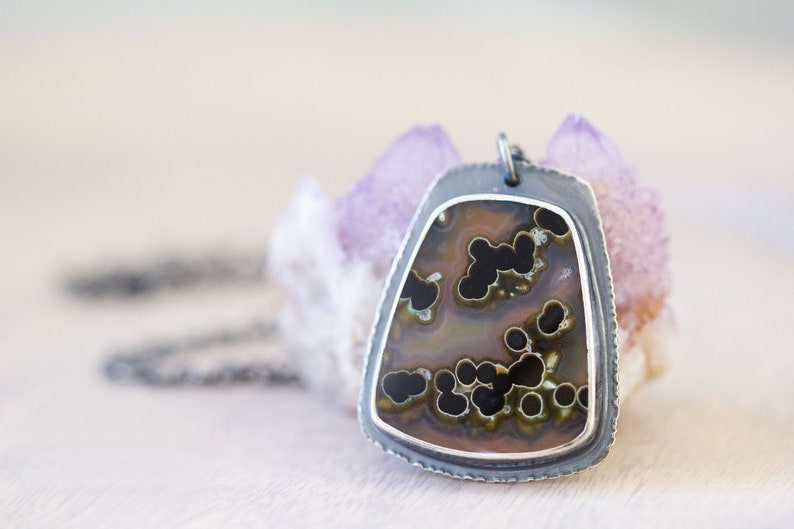Piranha Agate Necklace Sterling Silver Statement Necklace image 0