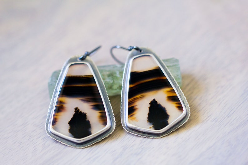 Montana Agate Sterling Silver Statement Earrings  Collector image 0