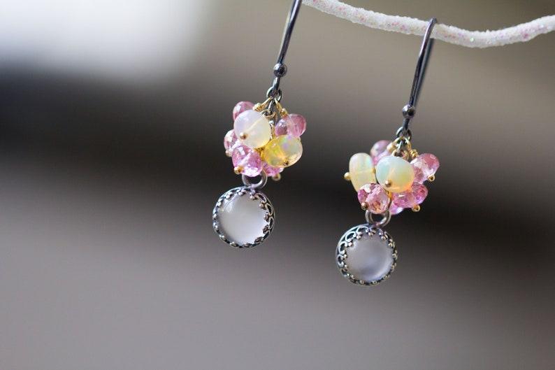 Moonstone Earrings Ethiopian Fire Opal Pink Topaz Sterling image 0