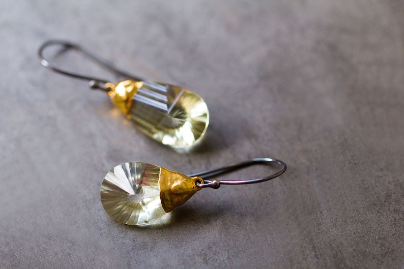 Lemon Quartz Earrings Spiral Designer Cut Lemon Quartz image 0