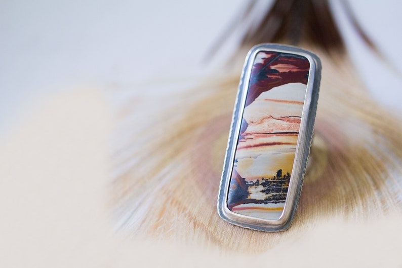 Indian Paint Picture Jasper Ring in Sterling Silver  image 0