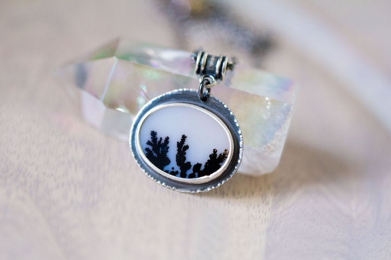 Dendritic Agate Necklace Sterling Silver Statement Necklace image 0