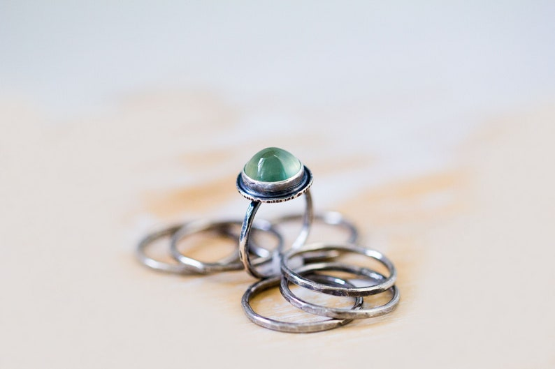 AAA Prehnite Stacking Ring Gem Grade Prehnite Silver image 0