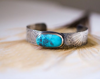 Nacozari Turquoise Bracelet, Sterling Silver Bracelet, Turquoise Cuff - Her Majesty