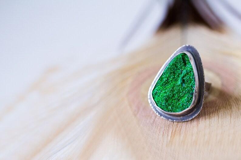 Uvarovite Drusy Ring Emerald Green Drusy Sterling Silver image 0