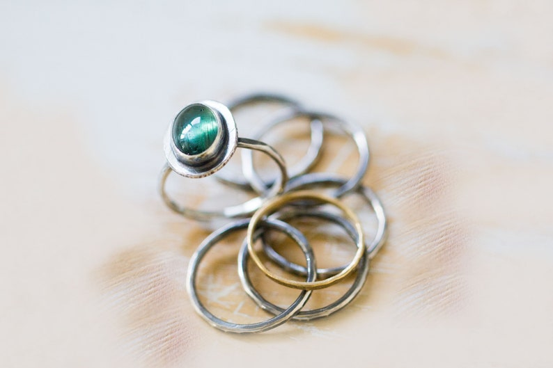 Blue Green Tourmaline Ring Sterling Silver Stacking Ring Set image 0
