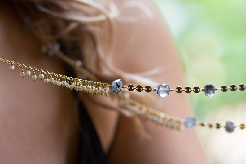 Tourmalinated Quartz Necklace Freshwater Pearl Necklace long image 0