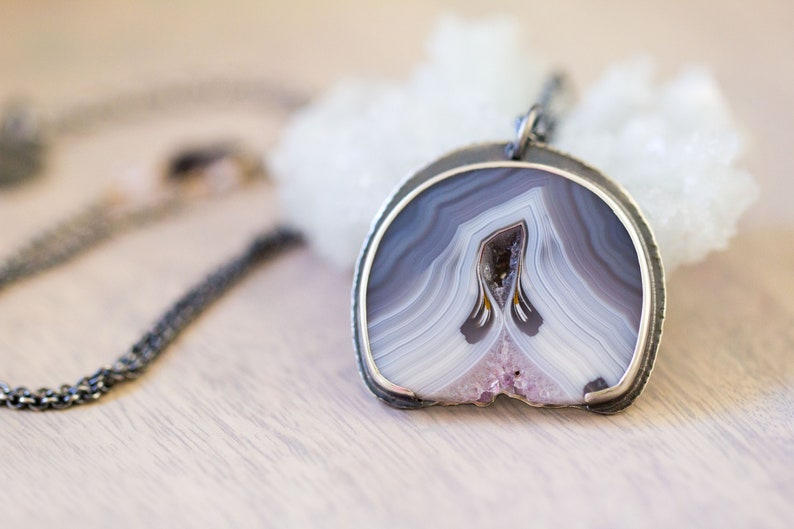 Amethyst Stalactite Slice Necklace in Sterling Silver image 0