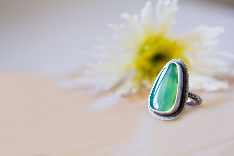 Australian Chrysoprase Ring in Sterling Silver Cocktail Ring  image 0