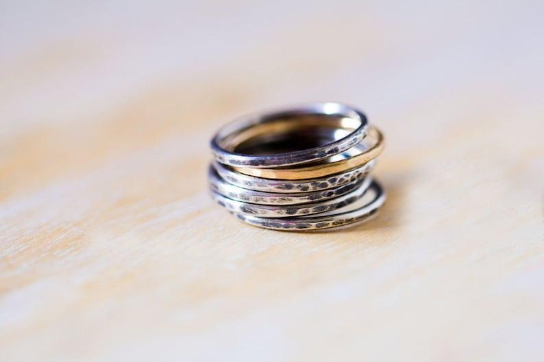 Mystery of Grace Marlborough Chrysoprase Sterling Silver Stacking Ring Set Australian Chrysoprase Ring Layering Rings Size 7.75