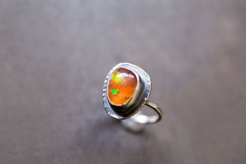 Mexican Fire Opal Ring Silver Stacking Ring Boulder Opal image 0