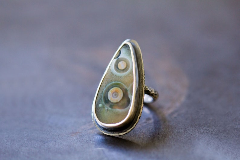 Ocean Jasper Ring Sterling Silver Cocktail Ring  Collector image 0