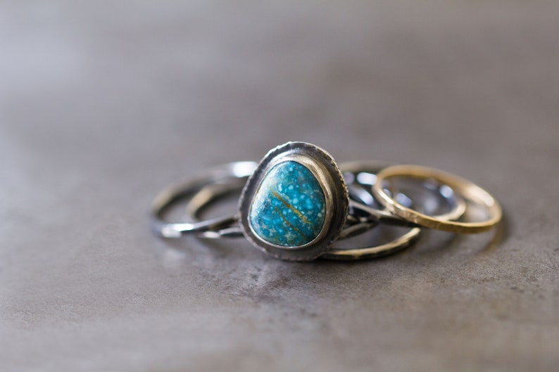 Number 8 Turquoise Stacking Ring American Turquoise Silver image 0