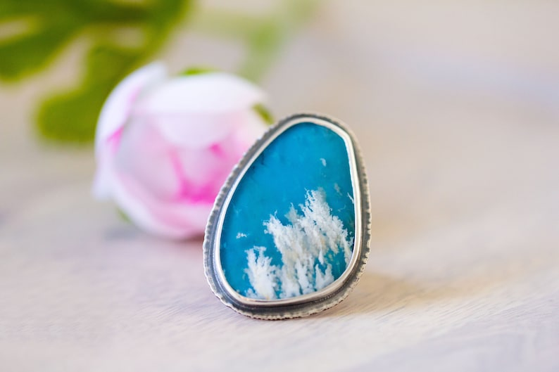 Turquoise Ring Regency Rose Plume Agate Ring in Sterling image 0