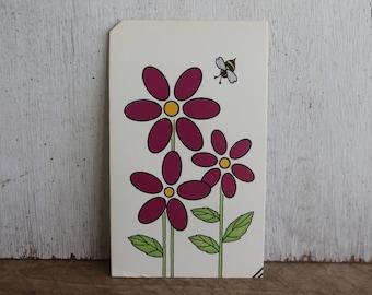 Vintage Flash Card -- Purple Flowers with Bee