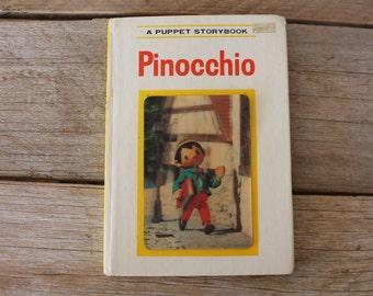 """Vintage 1970 """"Pinocchio"""" Board Book, Grosset & Dunlap // Vintage Children's Book // Pinocchio // Literature"""