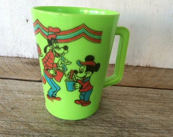 Vintage Lime Green Plastic Disney Cup with Handle