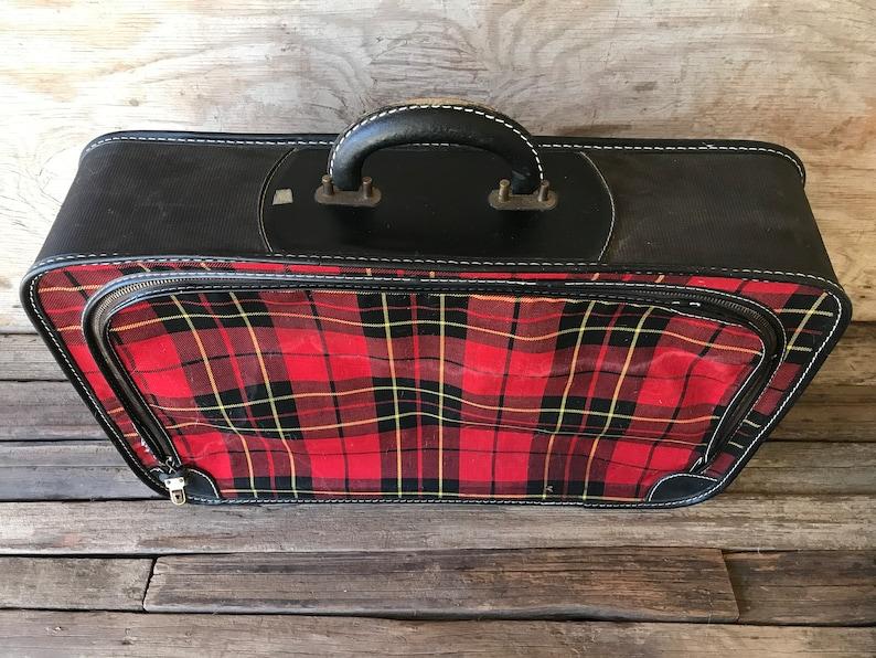 Vintage Red Plaid Suitcase  Vintage Luggage  Vintage Wedding  Vintage Christmas