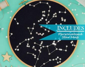 Craft Kit | Beginners Embroidery Kit | Personalised Star Map | Modern Embroidery | Newborn Baby | Wedding | Birthday | Custom Star Map