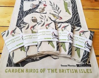 Garden Birds of the British Isles 100% unbleached cotton tea towel