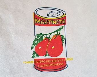 """Original linocut print """"Tomatoes"""" - Martinete tin can food packaging illustration on handmade nepalese paper"""