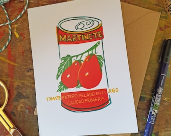 """Tomatoes tin food packaging recycled greetings card 7x5"""" Martinete peeled tomatoes"""
