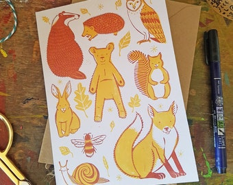 """Cub & Friends recycled greetings card 7x5"""" woodland animals children's illustration"""