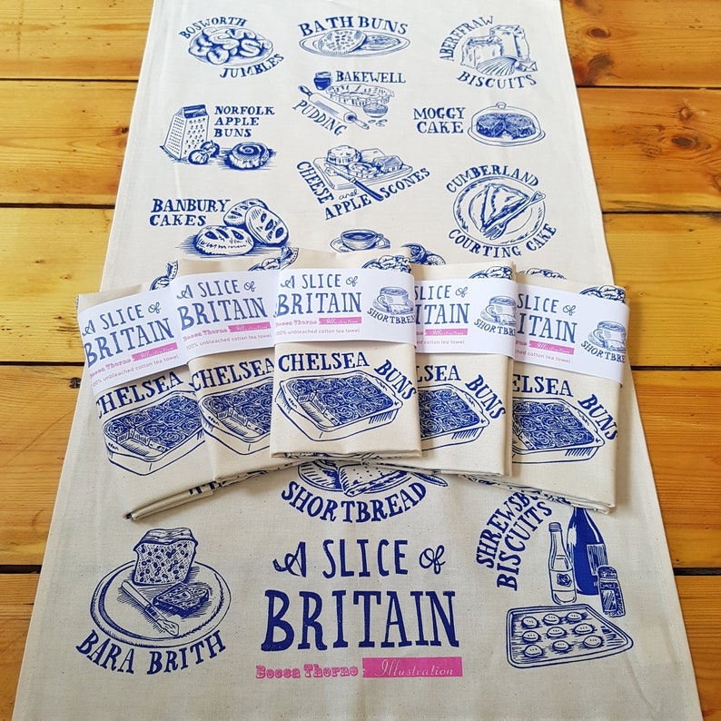 A Slice Of Britain 100% cotton screen printed cakes tea towel image 0