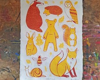"Original A3 linocut print ""Cub & Friends"" children's illustration on handmade paper. Limited Edition"