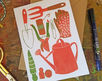 """Garden Tools recycled greetings card 7x5"""" Cultivate"""