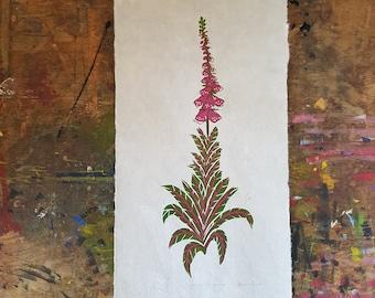 Foxglove original botanical linocut print. Digitalis Purpurea on handmade lokta paper