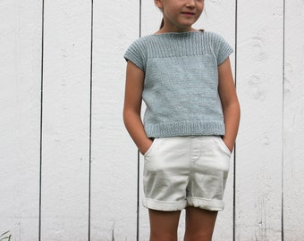 Kid's Sweater Knitting Pattern - Girl's Pullover Pattern - Child Sweater Knitting Pattern