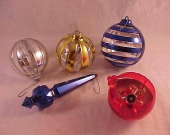 5 Vintage Plastic Christmas Tree Ornaments