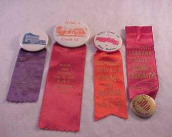 Vintage Pinback Buttons and Ribbons - Oley Fire Company Fire Department 1956 - 1971