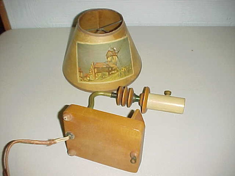Wood Hanging Wall Lamp 3-D Well with Vintage Shade
