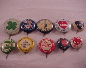 Vintage Pinback Buttons 1920s-1930s