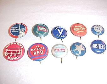 Vintage Pinback Buttons 1930s-1940s