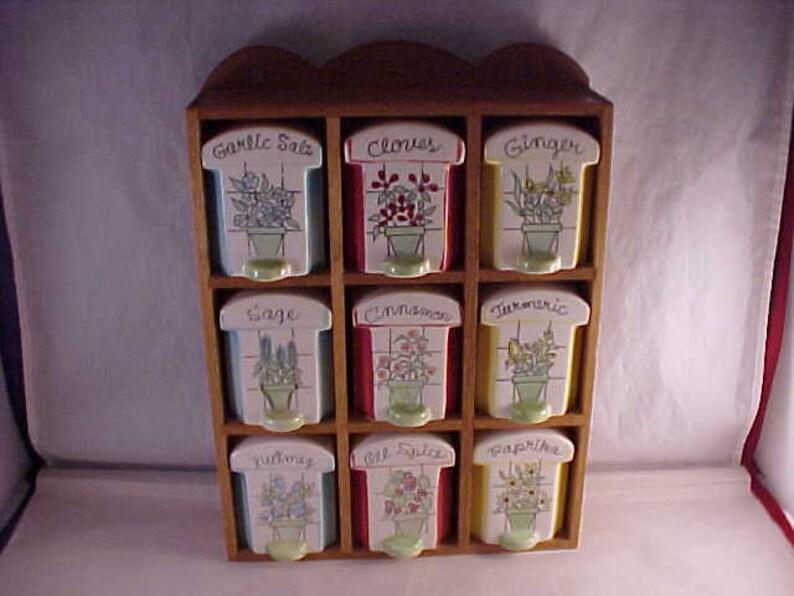 Japan Porcelain Spice Jar Shakers Set in Wood Case