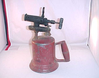 Vintage Blow Torch With Wood Handle