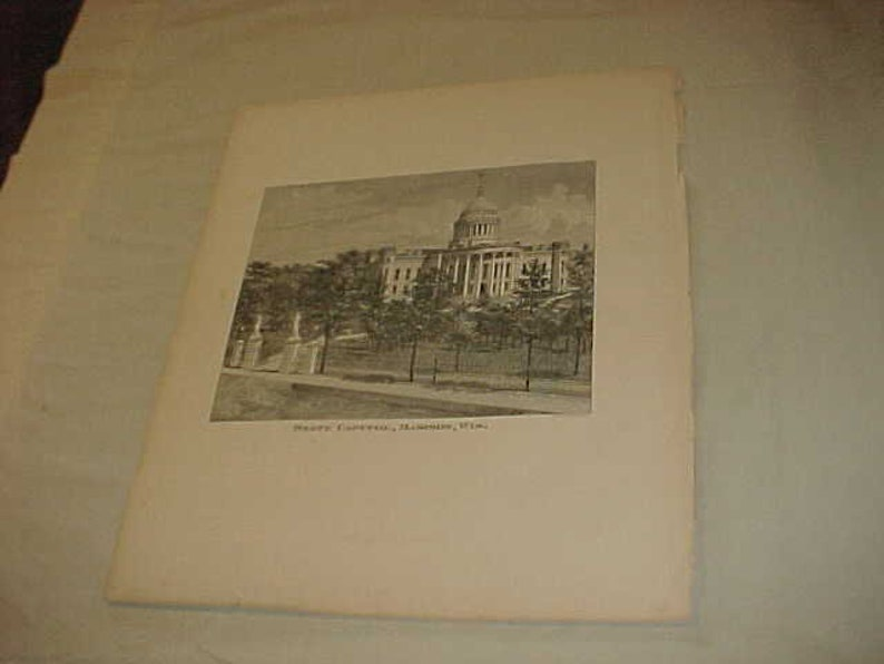 Wisconsin From the 1878 Wisconsin Plat Map Book Lithograph Engraving Of The State Capitol Madison
