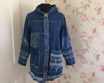 Upcycled Denim Hoodie * Denim Jacket * Deconstructed * Reconstructed Denim Jacket * Patches