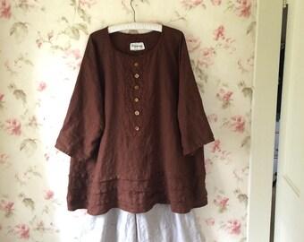 bb3328db6a Brown Linen Dress   Loose Dress   Hem Pleats   Pin tucks   Prairie   Color  Choices