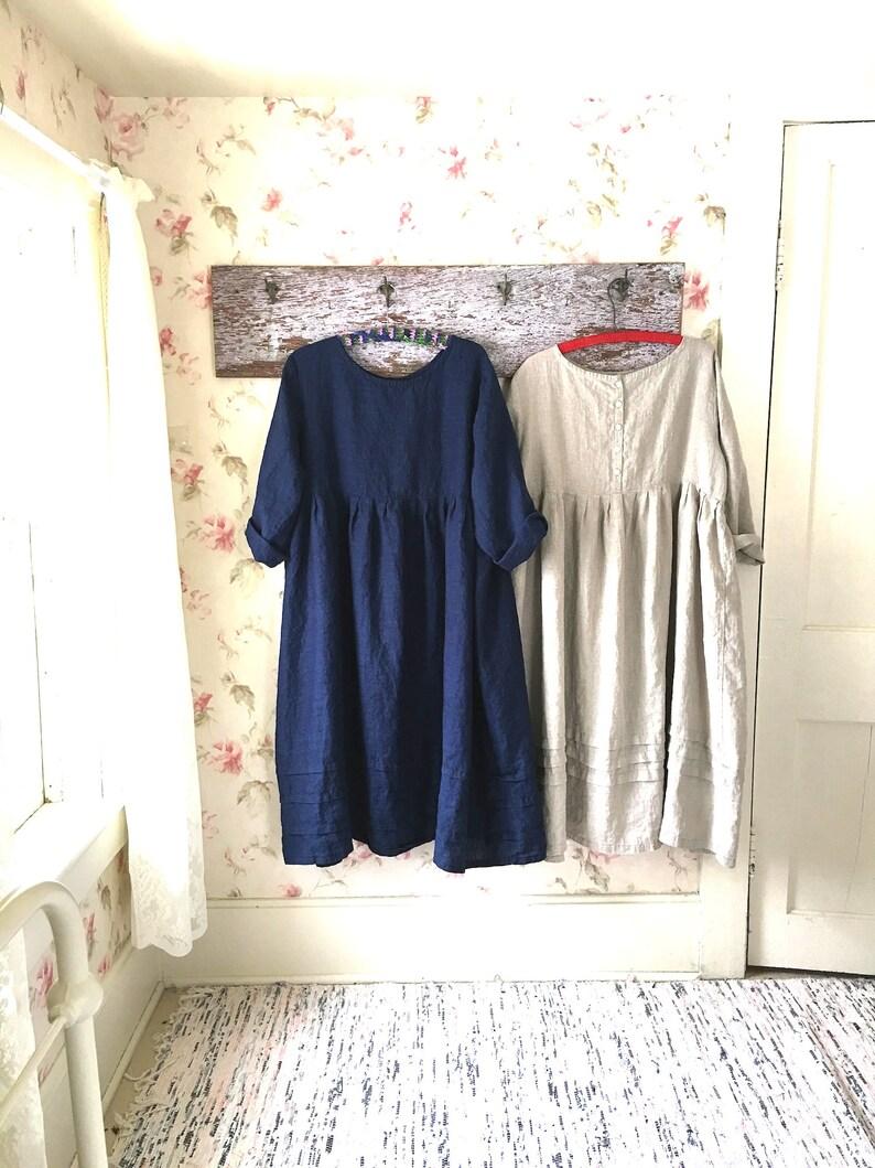0e41654da6 Long Blue Linen Dress Navy Blue Prairie Dress Hem Pleats