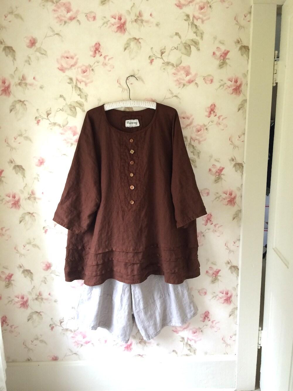 8d8e124cee Brown Linen Dress Loose Dress Hem Pleats Pin tucks