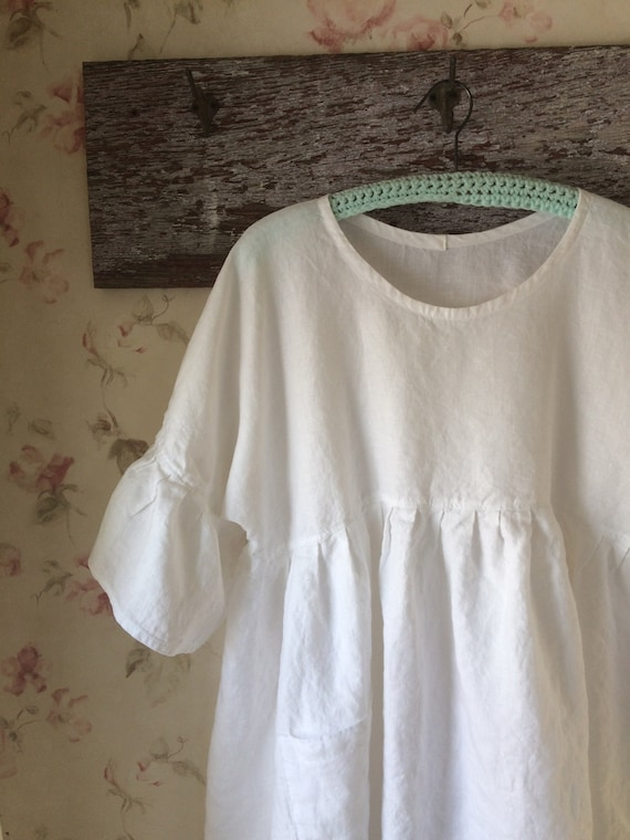33f1c7827f Washed Linen Dress Baby Doll Sweet Ruffle Sleeves White