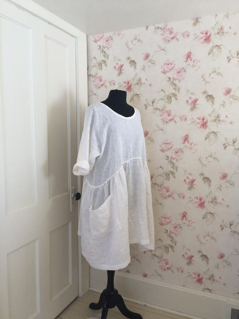 0e3174e0a7 White Linen Dress Romantic Linen Dress Lagenlook