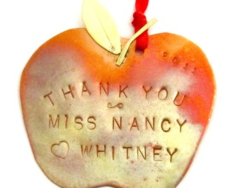 Thank You Personalized Apple Ornament Teacher Gift Back-to-School