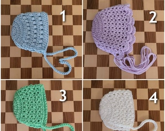 Newborn Photoshoot Baby Bonnets in Various Colors & Styles
