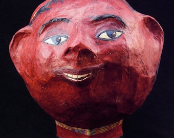 Happy is a  Red Paper Mache Head Bowl