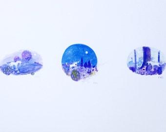 Last Unicorn - mini triptych A4 PRINT.